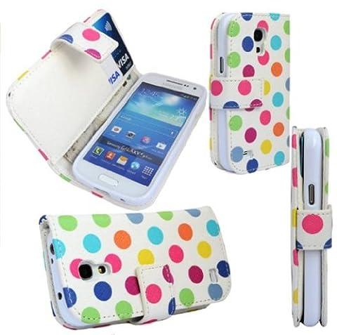 Samsung Galaxy S4 MINI i9190 Polka Dots Print Magnetic Detachable High Quality Pu Leather Flip Case Cover Plus Screen Protector & Screen Polishing Cloth