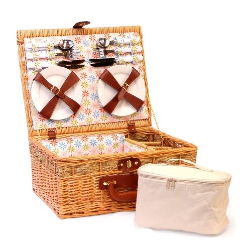 Luxuriöser Picknick Korb 'Florence' für 4 Personen mit Kühltasche - Die Geschenk Idee Zur Hochzeit, Geburtstag, Jubiläum