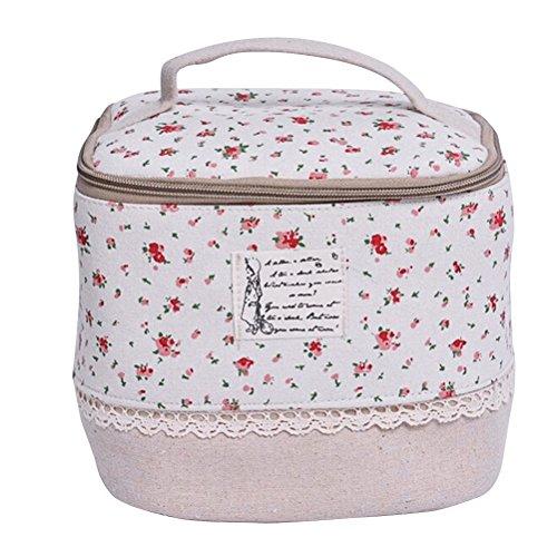 Pochette per Trucchi Donna BESTOMZ Trousse Organizer Borsa Beauty Case da Viaggio (Fiore Rosso)