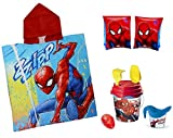 Spiderman Set Meer 8PZ Poncho + Eimer Gießkanne und Spiele von Strand +...