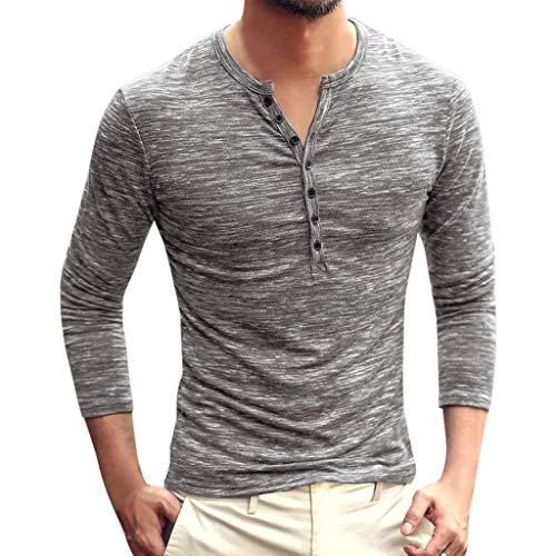 Fenverk Sweatshirt Herren Solid V Neck Langarm T-Shirt Top Slim Bluse Langarmshirt Rundhals Classics Herren T-Shirt(B - Teletubbies Kostüm Selbstgemacht