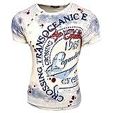 Rusty Neal Herren Rundhals T-Shirt Kurzarm Hemd Slim Fit Design Fashion 15045, Farbe:Weiß;Größe:L