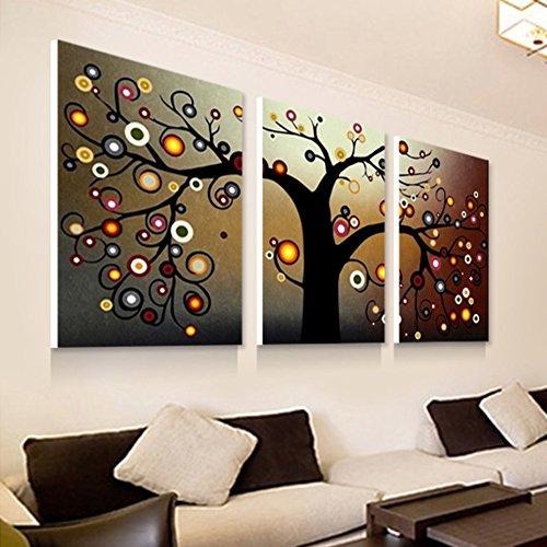 dekorative Malerei im Wohnzimmer Veranda Wandbild/Triptychon/ Bild/Abstrakte Geld Baum Wandbild-A 40x60cm(16x24inch) Veranda Boden Malen