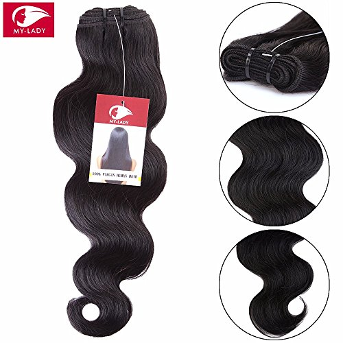 My-lady 7a 100g 30cm extension capelli veri matassa tessitura mossi brasiliani unprocessed 100% remy virgin human hair body wave