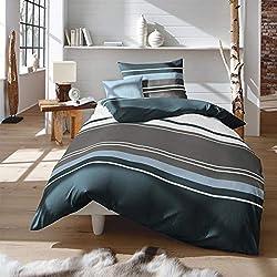 Traumschlaf Biber Bettwäsche Streifen blau 155x220 cm + 80x80 cm