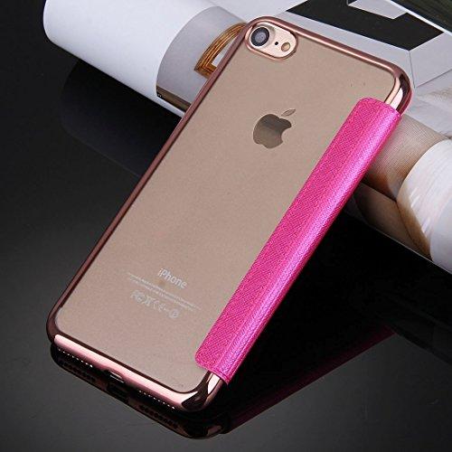 IPhone 7 Fall Querbeschaffenheit Galvanisieren TPU rückseitige Abdeckung Horizontaler Schlag-Leder-Kasten mit Anruf-Anzeigen-Identifikation für iPhone 7 by diebelleu ( Color : Rose gold ) Magenta