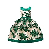 YWLINK MäDchen Prinzessin ÄRmellos Hohe Taille Retro Brautjungfer Kleid Stickerei Party Hochzeit Kleiden Mit Bogen GüRtel Abendkleid Elegant Klassisch(Grün,110)