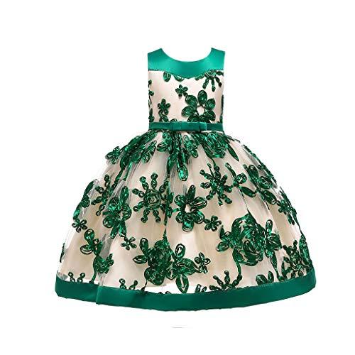 (IZHH Kinder Kleider, Floral Baby Mädchen Prinzessin Brautjungfer Pageant Kleid Geburtstag Party Hochzeitskleid 12M-7T Gestickte Prinzessin Dress Girl Dinner Dress(Grün,140))