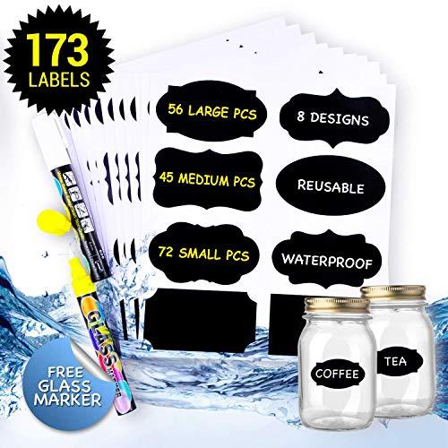 173x Tafeletiketten Selbstklebend mit 2x Löschbar Kreidemarker. Perfekter Etiketten Partner für Küche Gewürzgläser, Marmeladen usw. Wiederverwendbar Wasserdicht Tafelaufkleber Tafelfolie Sticker