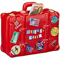 Preisvergleich für Relaxdays Spardose Urlaub, Koffer, mit Stickern, Urlaubskasse, Reisekasse, XXL, Sparbüchse, HxBxT: 14 x 15 x 7 cm, rot