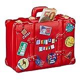 Relaxdays Spardose Urlaub, Koffer, mit Stickern, Urlaubskasse, Reisekasse, XXL, Sparbüchse, HxBxT: 14 x 15 x 7 cm, rot