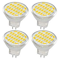 Jenyolon MR11 GU4 LED Lampen Warmweiss 3W AC/DC 12V, 3000K, 400Lm, Ersatz für 30W Halogenlampen Glühlampen, MR11 LED Leuchtmittel klein Birne Spot Licht, 120°Abstrahlwinkel, 4er Pack
