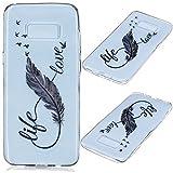 Linvei Samsung Galaxy S8 Plus Hülle Case Cover ,Ultra Dünn Weiche TPU Silikon Cover und bunte Muster Schutzhüllen für Samsung Galaxy S8 Plus-Leben Liebes feder