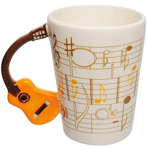 alles-meine.de GmbH 3D Effekt _ Henkeltasse / Kaffeetasse - Gitarre - E-Gitarre - orange / gelb - groß - 250 ml - Keramik / Porzellan - Teetasse - Trinktasse mit Henkel - Tasse B..