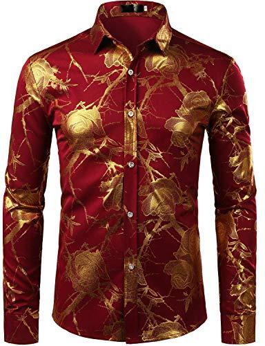 ld-Rosen-Entwurfs-Slim fit Langarm-Blumendruck-Kleid Shirts/Prom darstellende Shirts zzcl15 groß Burgund/gelbgold ()