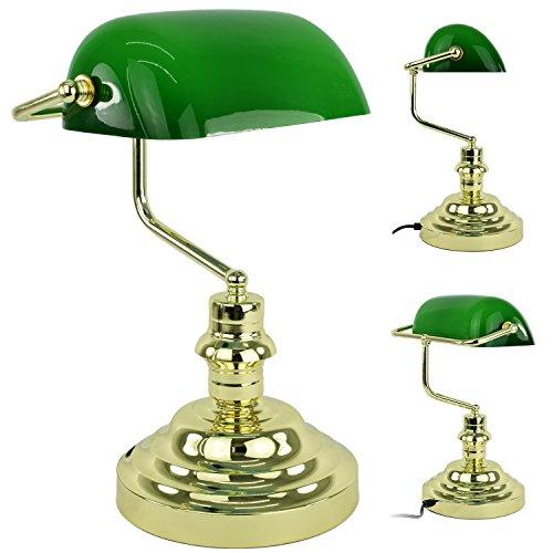 Bankerlampe Tischlampe Bankers Lamp Schreibtischlampe Banker Lampe Büro Vintage Glas H: 36 cm