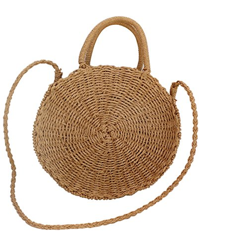 Hung Kai Straw Crossbody Bag Women Weave Shoulder Bag Round Summer Beach Purse and Handbags (Purse Beach Bag)