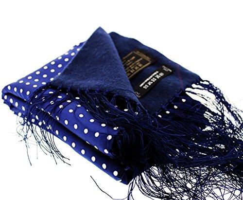 Sopran Herren Marineblau und Weiß Polka Dots Seide Schal mit Lämmer Wolle Rückseite (Polka Seiden-schals Dots)
