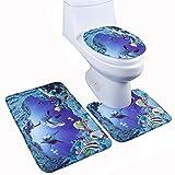 Joyoldelf tappetino da bagno in flanella antiscivolo, set di 3,mondo marino, tappetino da bagno + tappetino + tappetino coprisedile WC