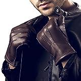 YISEVEN Herren Lederhandschuhe aus Hischleder Handgenäht mit Kaschmir gefüttert Elegant Winter Warm Leder Autofahrer Handschuhe, Braun XL/10.0