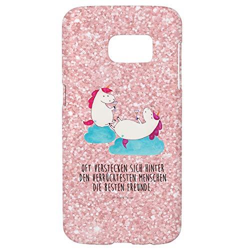 Mr. & Mrs. Panda Handyhülle, Cover, Samsung Galaxy S7 Handyhülle Einhörner Sekt mit Spruch - Farbe Glitzer Rosa