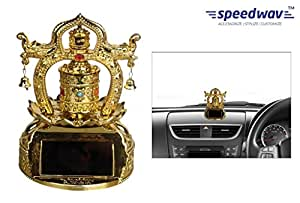 Speedwav Solar Powered Car Dashboard God Idol - T2 Tibetan Twin Prayer Wheel