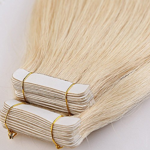 Tape in hair extension adesive capelli veri riutilizzabili- 45cm 100g 40 fasce 613# bleach blonde - 100% remy human hair capelli naturali umani lisci