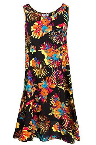 H&D Damen Midi Sommerkleid ärmellos floral A-Form Strandkleid wadenlang Schwarz (Muster3) 42-46