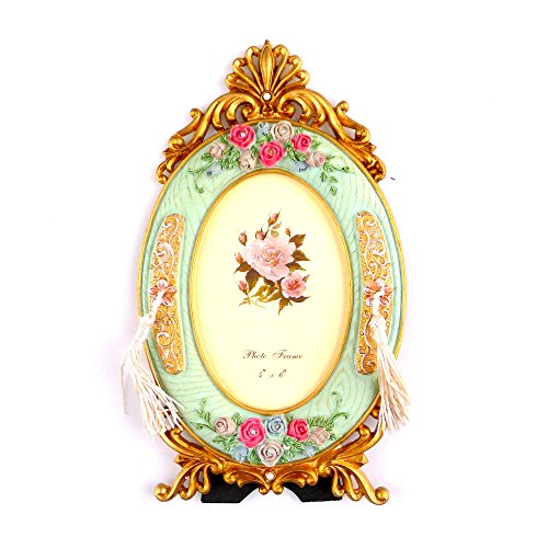 kirinstores Retro Bilderrahmen im europäischen Stil Gold Bilderrahmen Ovale Form Pink Rose Blume Dekoration 4x 6