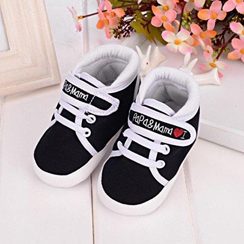 """Niedlich Baby Sneaker """"I Love Mama Und Papa""""Säuglings Weiche Sohle Leinwand Segeltuch Turnschuh Kleinkind Schuhe Kind Junge Schwarz"""
