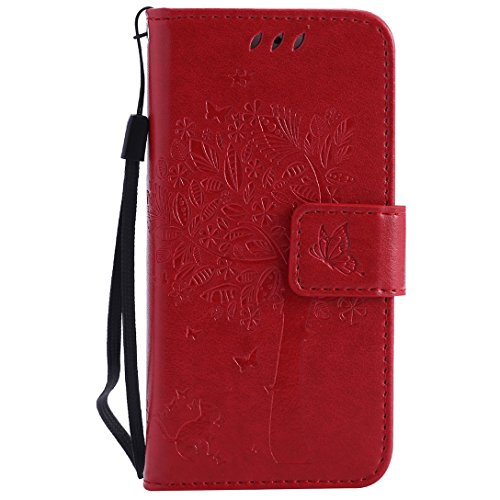 (Sleeping Bear)Apple iPhone 7 Case/Custodia/Caso, squisito elegante lalbero e il gatto il disegno in rilievo PU Leather telefono Caso/custodia ,[Lanyard] Retro Puro Color Protettiva Flip carta vibraz Rosso