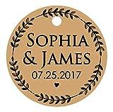 100 pcs faits sur commande ronde étiquettes volantes cadeau de faveur de mariage personnalisé étiquettes en papier