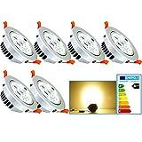 VINGO® 6 Stücke 7W LED Einbaustrahler 230V Rahmen Silber Decken Leuchte Aluminium Einbauleuchten Einbauspots