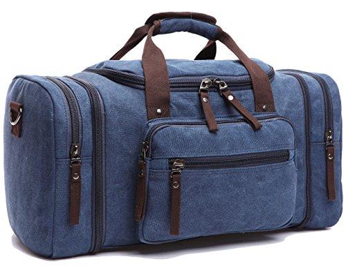 Leaper Weekender Handgepäck Reisetasche Canvas Segeltuch Sporttasche Umhängertasche Handtasche für Reise am Wochenende Urlaub(Kafeebrau) Dunkelblau