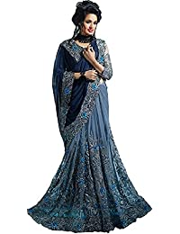 8a50d473dc Fab Zone Indian Designer Georgette & Net Embriodery & Zari Work Saree with  Unstitched Blouse Piece