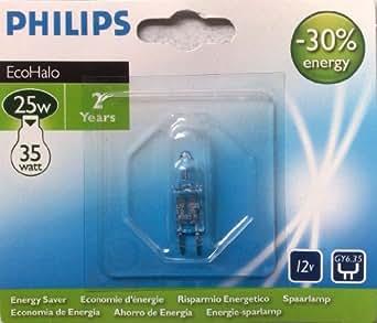 Philips EcoHalo 2 x 25 W (= 35 watt) GY6,35 Capsule Halogène 12V économies d'énergie des lampes 2 ans, à intensité variable Blanc chaud 2800 K ampoule Lampe Bulb 440 lm