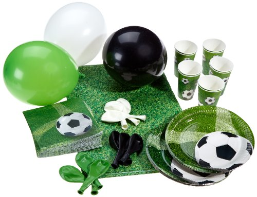 Karaloon P10001 - Set di accessori per festa dei bambini, tema: calcio, dimensioni: XL, 53 pz.