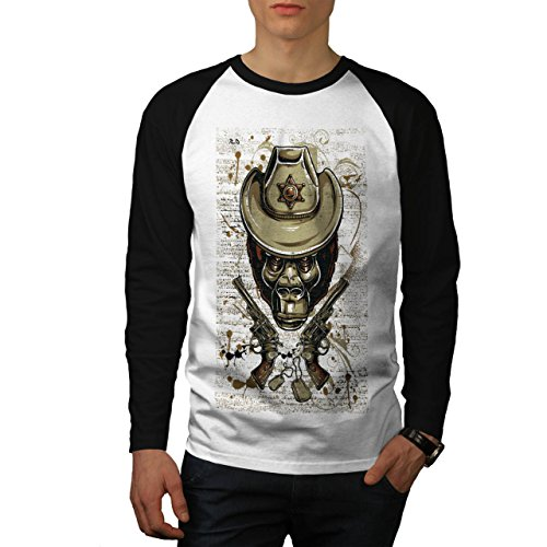 Sheriff Affe Tier Western Affe Herren L Baseball lange Ärmel T-Shirt | Wellcoda (Baseball Sheriff)