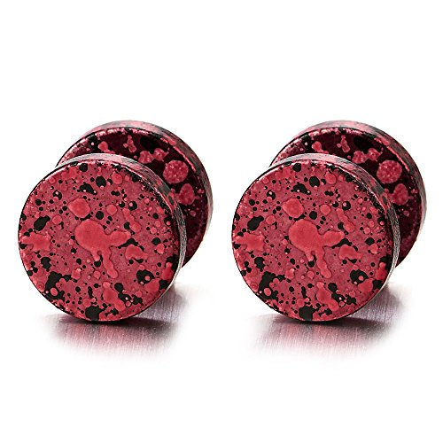 10MM Rot Bunter Kreis Herren Ohrstecker Ohrringe Fakeplugs Fake Ohr-Plug Tunnel Gauges Ohr-Piercing Edelstahl, 1 - Herren Ohrstecker Ohrringe Rot