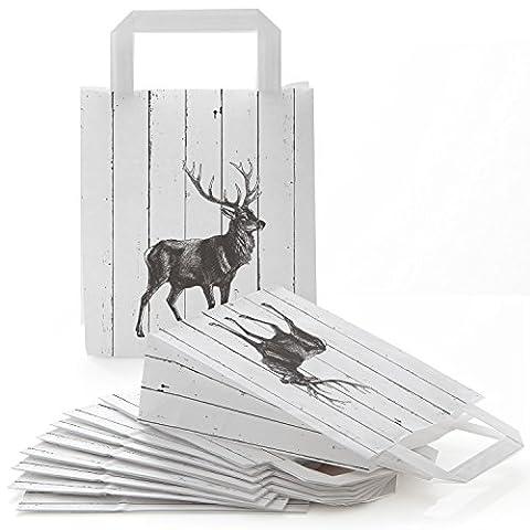 25 Papier Papiertüten Papier-Tragetaschen Henkel-Tüten HIRSCH HOLZ-Optik mit Boden in schwarz weiß (18 x 8 x 22 cm) im schicken Landhausstil ... auch als Weihnachtstüten