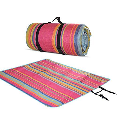 HM&DX Outdoor Größe Picknickdecken Wasserdicht Handtaschen Feuchtigkeitsfest Zelt Picknickdecke campingdecke Tragbare Water resistant Picknick-matte-Rose 220*175cm(87*69in)
