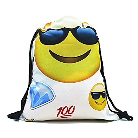 Emojis Drawstring Bags Backpack with Polyester Material Sport String Sling Bag for Kids Teens - Cool
