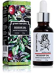 Green Keratin 100 Percent Pure and Organic Rosehip Premium Certified Oil