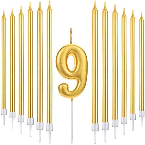 y Birthday Kuchen Kerzen Set Beinhaltet Metallische Anzahl Kerze, 20 Stück Gold Lange Dünne Geburtstagskerzen für Geburtstag Hochzeit Party Jubiläum (Number 9) ()