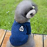 elegantstunning Winter Fall Puppy Pet Dog Cat Clothes Fleece Sweater Lapel Coat Dark Blue_L