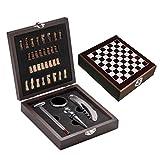 4-teil. Weinset in Holzbox mit Schachspiel