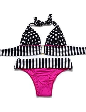 PU&PU Bikini del Halter della spiaggia delle donne due pezzi costume da bagno Vintage Polka Dots Reggiseno imbottito...
