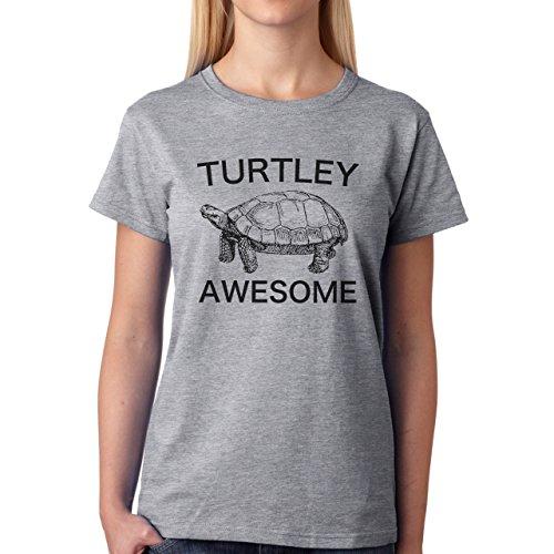 Turtley Awesome Turtle Edition Grey Black Damen T-Shirt Grau