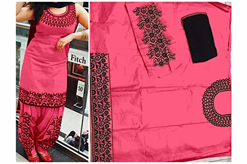 Cotton Embroidered light pink Unstitched Patiala Suit
