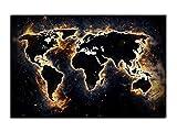Alu-Dibond Wandbild WORLD ON FIRE WELTKARTE Globus AB-837 Butlerfinish® 60 x 40 cm, Wandbild Edel gebürstete Aluminium-Verbundplatte, Metall effekt Eyecatcher!